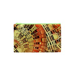 Semi Circles Abstract Geometric Modern Art Orange Cosmetic Bag (xs) by CrypticFragmentsDesign