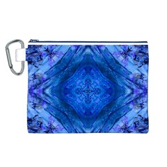 Boho Bohemian Hippie Tie Dye Cobalt Canvas Cosmetic Bag (l) by CrypticFragmentsDesign