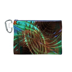 Metallic Abstract Copper Patina  Canvas Cosmetic Bag (M) by CrypticFragmentsDesign