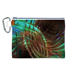 Metallic Abstract Copper Patina  Canvas Cosmetic Bag (l) by CrypticFragmentsDesign