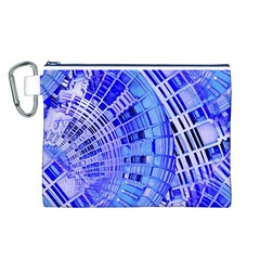 Semi Circles Abstract Geometric Modern Art Blue  Canvas Cosmetic Bag (l) by CrypticFragmentsDesign