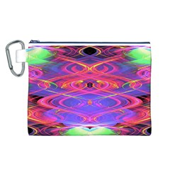 Neon Night Dance Party Pink Purple Canvas Cosmetic Bag (l) by CrypticFragmentsDesign