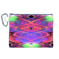 Neon Night Dance Party Pink Purple Canvas Cosmetic Bag (xl)  by CrypticFragmentsDesign
