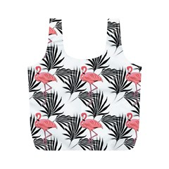 Flamingos Palmetto Fronds Tropical Pattern Full Print Recycle Bags (m)  by CrypticFragmentsColors