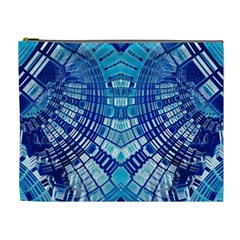 Blue Mirror Abstract Geometric Cosmetic Bag (xl) by CrypticFragmentsDesign