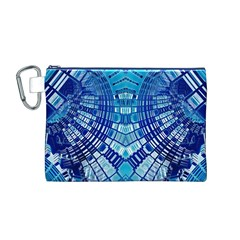 Blue Mirror Abstract Geometric Canvas Cosmetic Bag (M) by CrypticFragmentsDesign