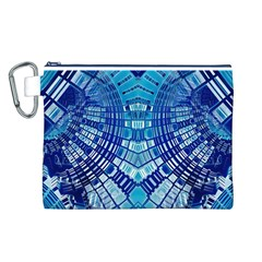 Blue Mirror Abstract Geometric Canvas Cosmetic Bag (l) by CrypticFragmentsDesign