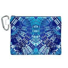 Blue Mirror Abstract Geometric Canvas Cosmetic Bag (xl)  by CrypticFragmentsDesign