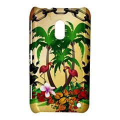 Tropical Design With Flamingo And Palm Tree Nokia Lumia 620 by FantasyWorld7