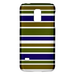 Olive Green Blue Stripes Pattern Galaxy S5 Mini by BrightVibesDesign