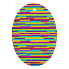 Colorful Stripes Background Ornament (oval)  by TastefulDesigns