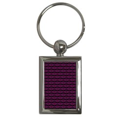 Pink Black Retro Tiki Pattern Key Chains (rectangle)  by BrightVibesDesign