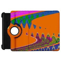 Colorful Wave Orange Abstract Kindle Fire Hd Flip 360 Case by BrightVibesDesign