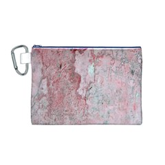 Coral Pink Abstract Background Texture Canvas Cosmetic Bag (Medium) by CrypticFragmentsDesign
