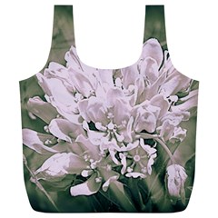 White Flower Full Print Recycle Bags (l)  by uniquedesignsbycassie