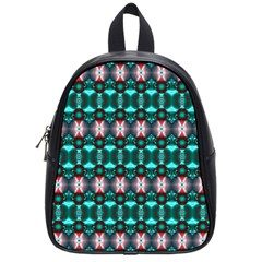 Fancy Teal Red Pattern School Bags (small)  by BrightVibesDesign