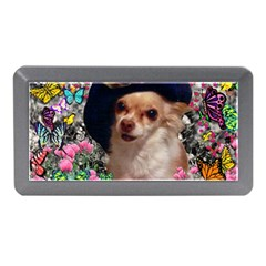 Chi Chi In Butterflies, Chihuahua Dog In Cute Hat Memory Card Reader (mini) by DianeClancy