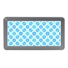 Pastel Turquoise Blue Retro Circles Memory Card Reader (mini) by BrightVibesDesign