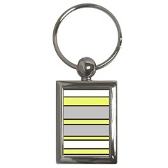Yellow And Gray Lines Key Chains (rectangle)  by Valentinaart
