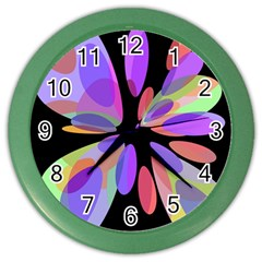 Colorful abstract flower Color Wall Clocks by Valentinaart