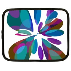 Blue abstract flower Netbook Case (XXL)  by Valentinaart