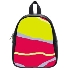 Red And Yellow Design School Bags (small)  by Valentinaart
