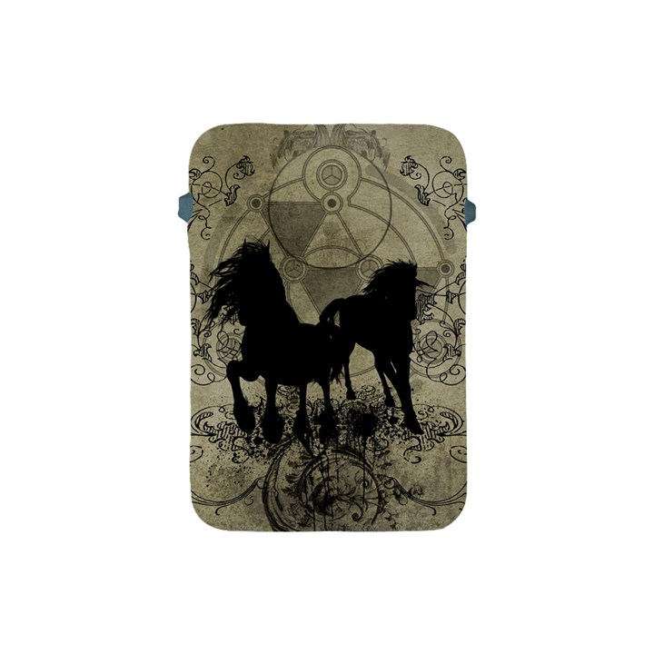 Wonderful Black Horses, With Floral Elements, Silhouette Apple iPad Mini Protective Soft Cases