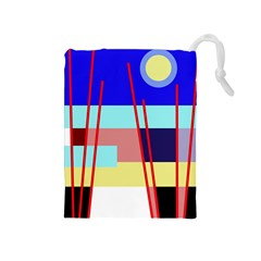 Abstract Landscape Drawstring Pouches (medium)  by Valentinaart