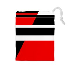 Red, White And Black Abstraction Drawstring Pouches (large)  by Valentinaart