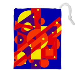 Blue and orange abstract design Drawstring Pouches (XXL) by Valentinaart