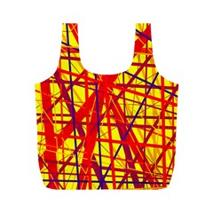 Yellow And Orange Pattern Full Print Recycle Bags (m)  by Valentinaart