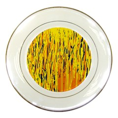 Yellow pattern Porcelain Plates by Valentinaart