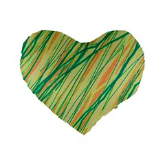 Green And Orange Pattern Standard 16  Premium Heart Shape Cushions by Valentinaart