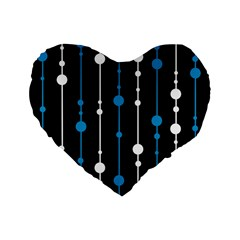 Blue, White And Black Pattern Standard 16  Premium Heart Shape Cushions by Valentinaart