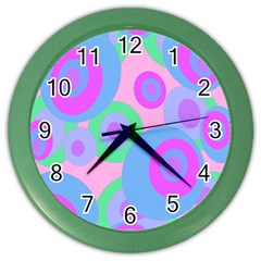 Pink pattern Color Wall Clocks by Valentinaart