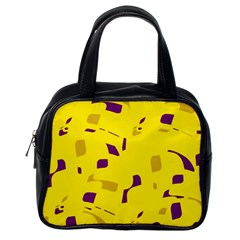 Yellow and purple pattern Classic Handbags (One Side) by Valentinaart