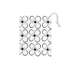 White Flowers Pattern Drawstring Pouches (small)  by Valentinaart
