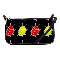 Red and yellow bugs pattern Shoulder Clutch Bags by Valentinaart