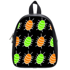 Green And Orange Bug Pattern School Bags (small)  by Valentinaart