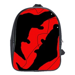 Black And Red Lizard  School Bags (xl)  by Valentinaart