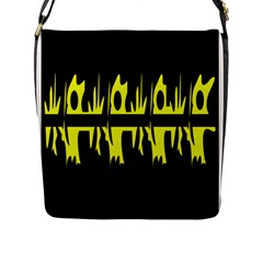 Yellow Abstract Pattern Flap Messenger Bag (l)  by Valentinaart
