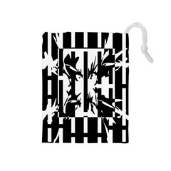 Black and white abstraction Drawstring Pouches (Medium)  by Valentinaart