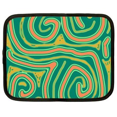 Green and orange lines Netbook Case (XXL)  by Valentinaart