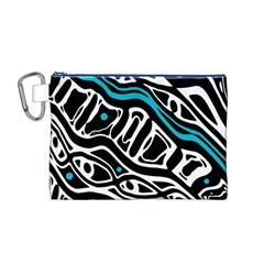 Blue, black and white abstract art Canvas Cosmetic Bag (M) by Valentinaart