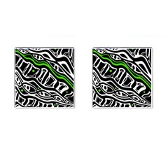 Green, black and white abstract art Cufflinks (Square) by Valentinaart