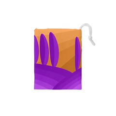 Orange and purple landscape Drawstring Pouches (XS)  by Valentinaart