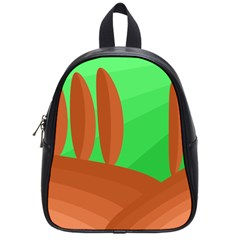 Green And Orange Landscape School Bags (small)  by Valentinaart