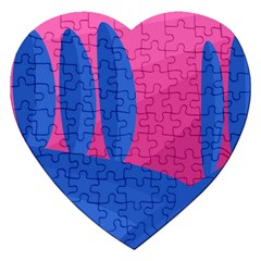 Magenta And Blue Landscape Jigsaw Puzzle (heart) by Valentinaart