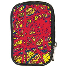 Yellow And Red Neon Design Compact Camera Cases by Valentinaart