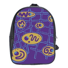 Purple And Yellow Abstraction School Bags (xl)  by Valentinaart